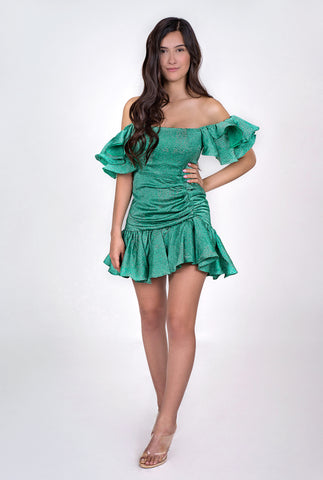 Maliyah Ruffle Dress - Green