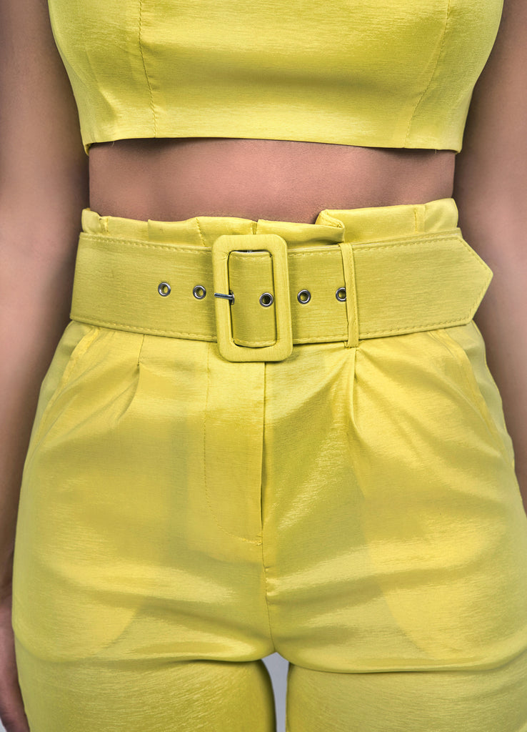 Gia 2-Piece Neon Yellow Pant Set