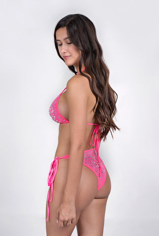 Image of Royalty 3-Piece Crystal Bikini Set - Pink