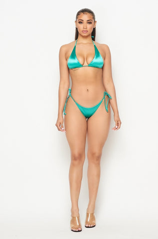 Julietta Green Satin Bikini
