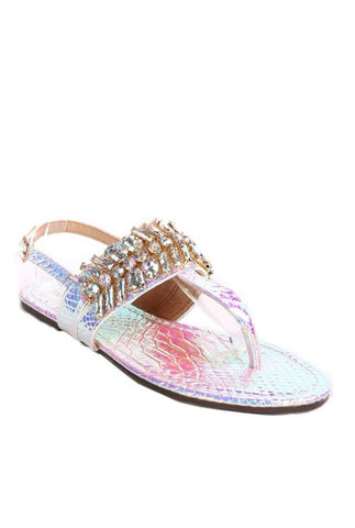 Jeweled Holographic Sandals