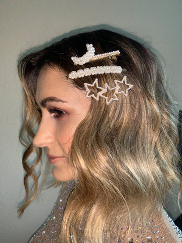 Image of Star Moon Studded Hair Pin Set