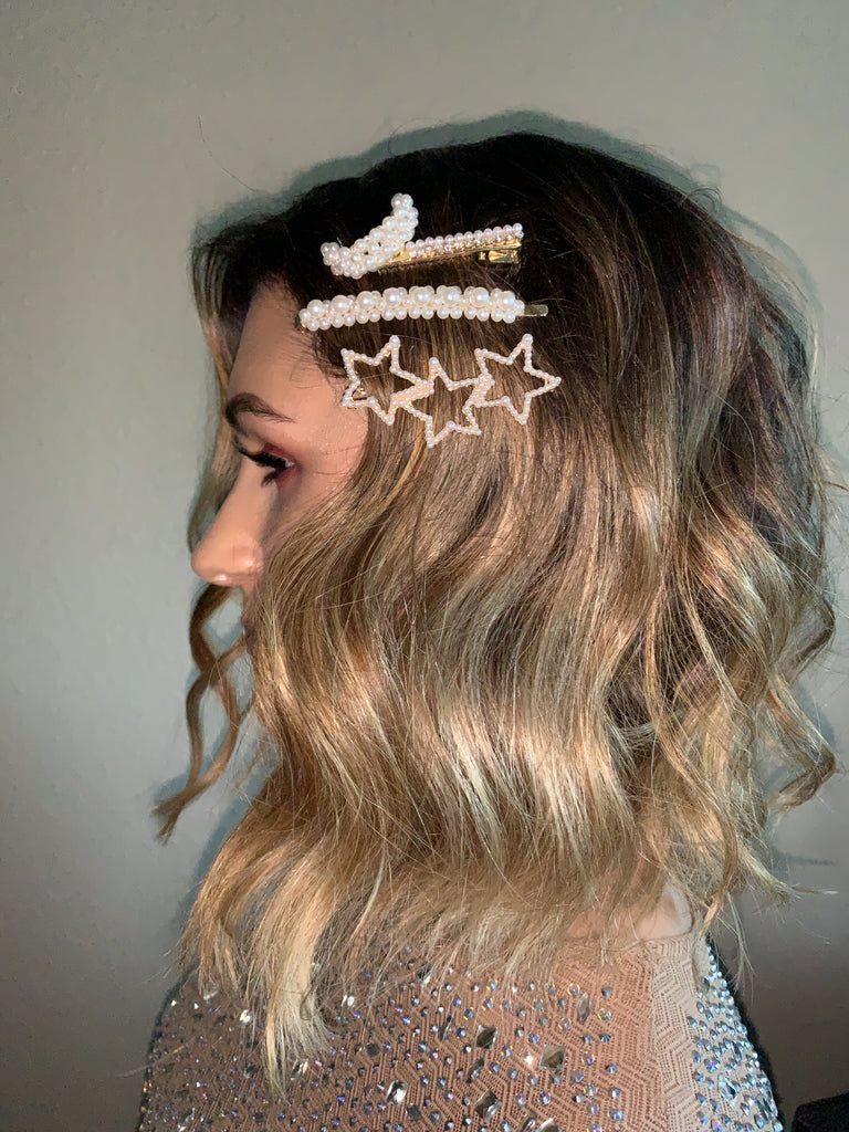 Star Moon Studded Hair Pin Set