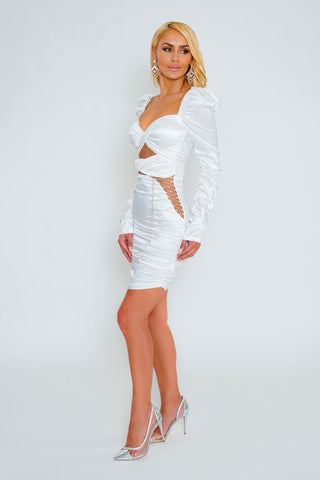 London Rhinestone Satin Dress