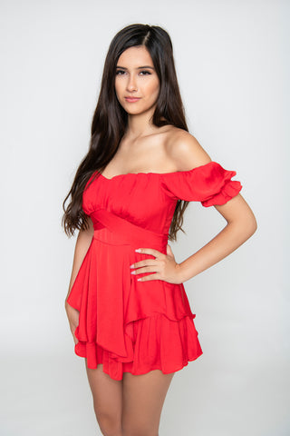 Image of Amelia Ruffle Romper - Red