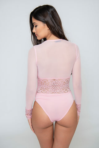 Image of Sienna Lace Mesh Bodysuit - Pink