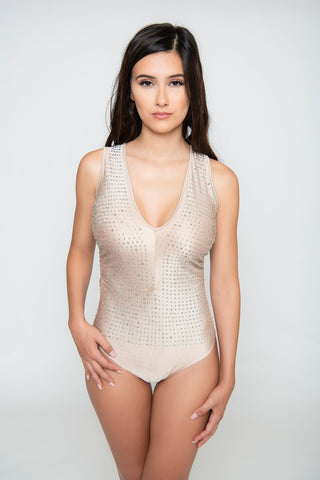 Image of Hailey Rhinestone Scrunch Bodysuit - Nude