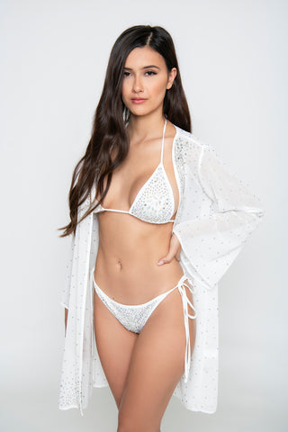 Image of Royalty 3-Piece Crystal Bikini Set - White