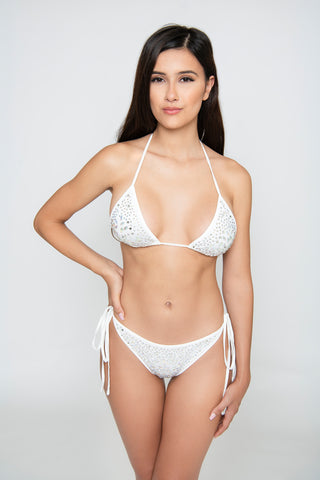 Royalty 3-Piece Crystal Bikini Set - White