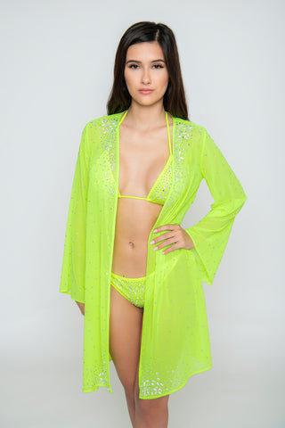Image of Royalty 3-Piece Crystal Bikini Set - Neon Green