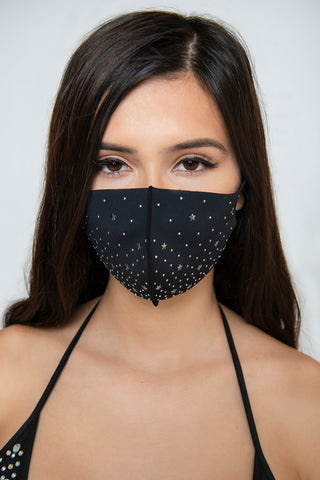 Image of Star Studs Face Mask - Black