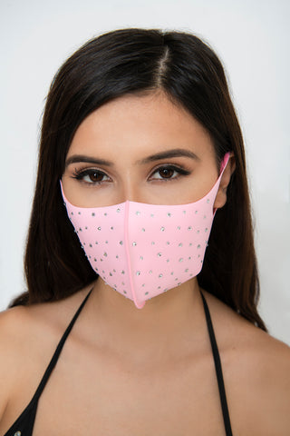 Image of Rhinestone Face Mask - Pink