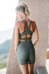 Georgie Sports Bra - Green Ribbed