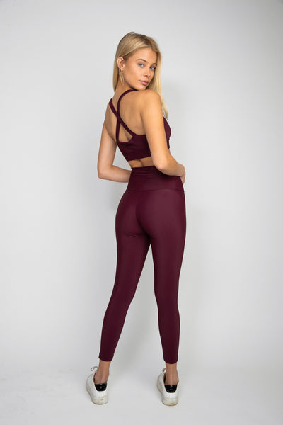 Cece Legging - Wine Ribbed