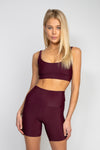 Mya Sports Bra with Extra Support - Wine Ribbed