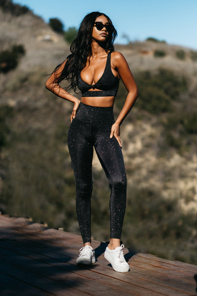 Georgie Sports Bra - Black Glitter