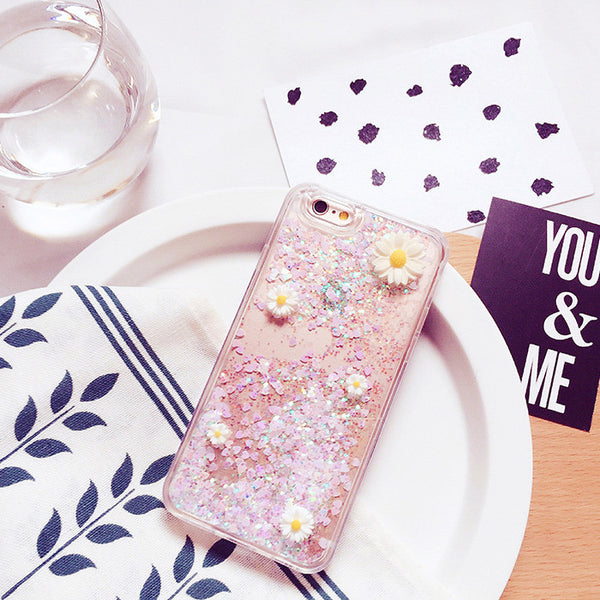 3D Daisy Waterfall Glitter Iphone Case,[variant_title]- Jan&Aya