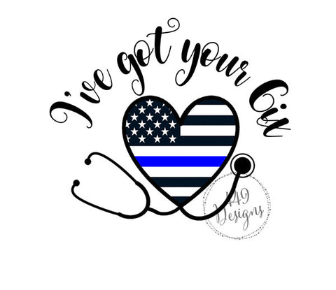 I've got your 6ix Police Thin Blue Line Heart Stethoscope Decal