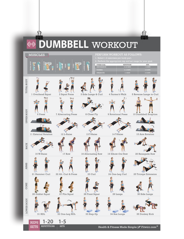 Dumbbell Exercise Poster 4 Week Workout Plan For Women
