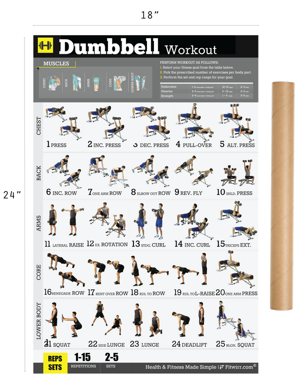 "Dumbbell Workout Exercise Poster for Men 18""X24"" Laminated ..."