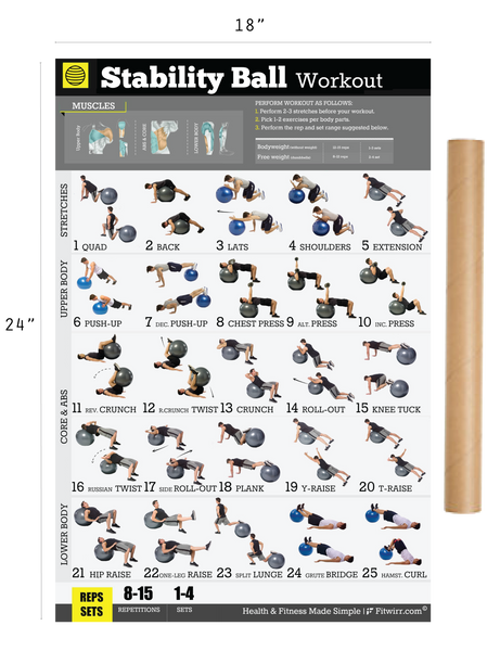 "Exercise Ball Workout Exercise Poster for Men 18""X24"" Laminated - FITWIRR SHOP"