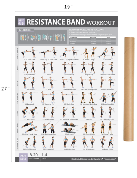 "Resistance Band Exercise Poster - Laminated - 19""x27"" - FITWIRR SHOP"