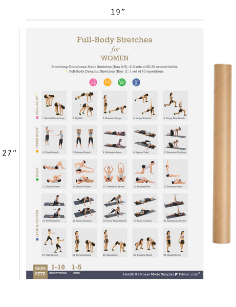 "Full-Body Stretching Exercise Poster for Women 19""X27"" Laminated"