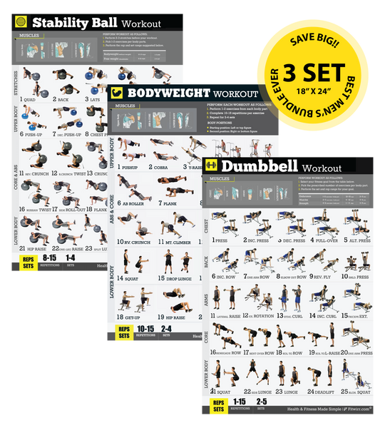 "Set of 3 Exercise Workout Posters for Men Laminated 18""X24"" - FITWIRR SHOP"
