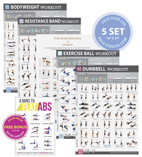6-Pack Exercise Workout Posters for Women Laminated 19