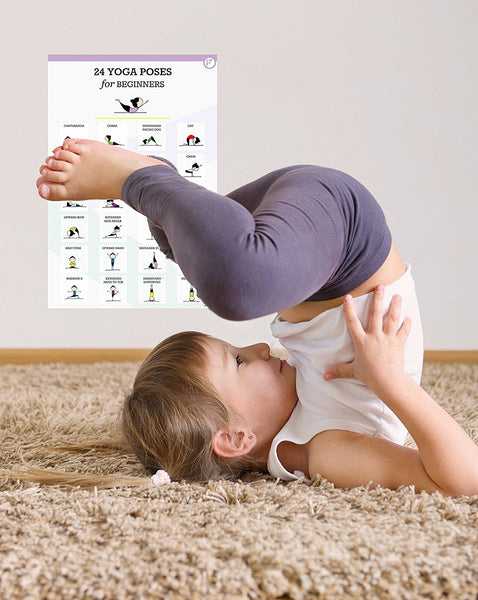 24 Fun and Easy Yoga Poses for Kids (Wall Poster) - FITWIRR SHOP