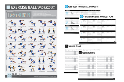 "Exercise Ball Workout Poster for Women 19""X27"" Laminated"