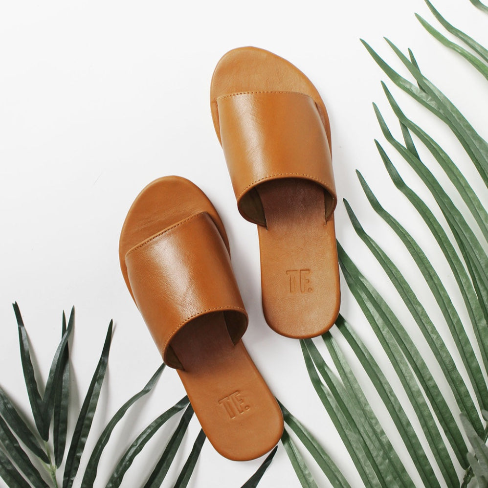 Shoes | Sandals (Tan Leather Slide)