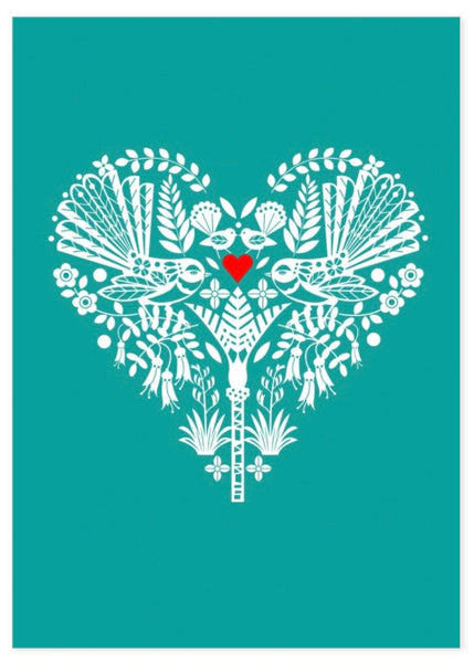 Card | New Zealand Turquoise Fantail Heart