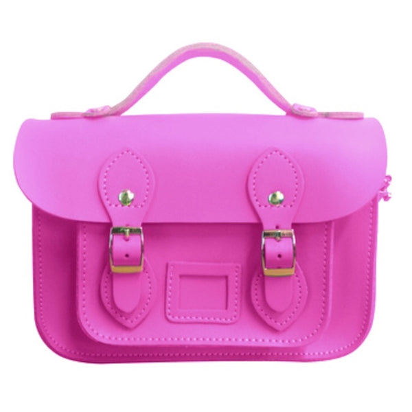 Think Pink | Leather Satchel | Mini 8.5""