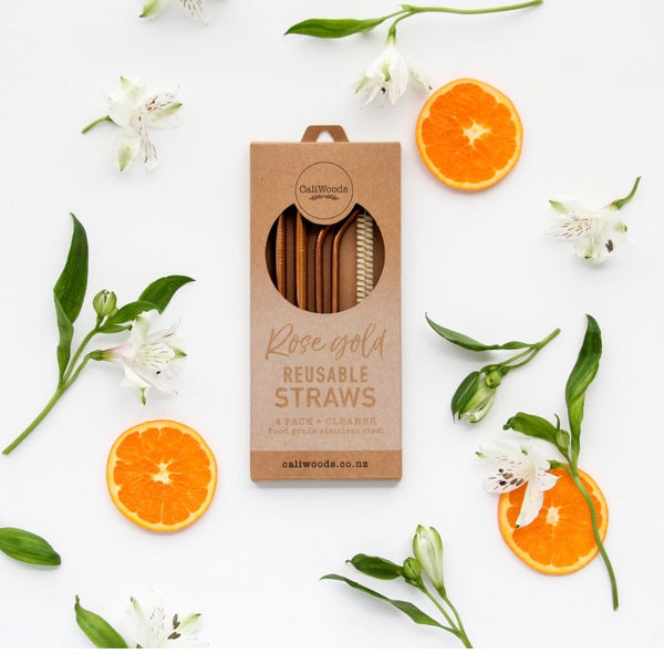 Mixed Straws | 4 Pack (Rose Gold)