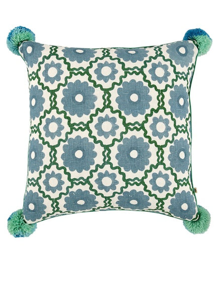 Cushion | Marguerite (Blue/Green)