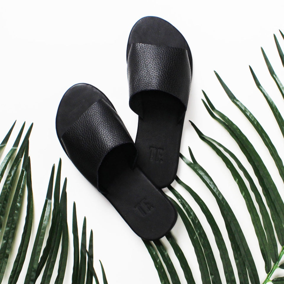 Sandles | Black Leather Slide