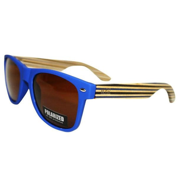 Bamboo Sunglasses | Blue | Stripped Arms