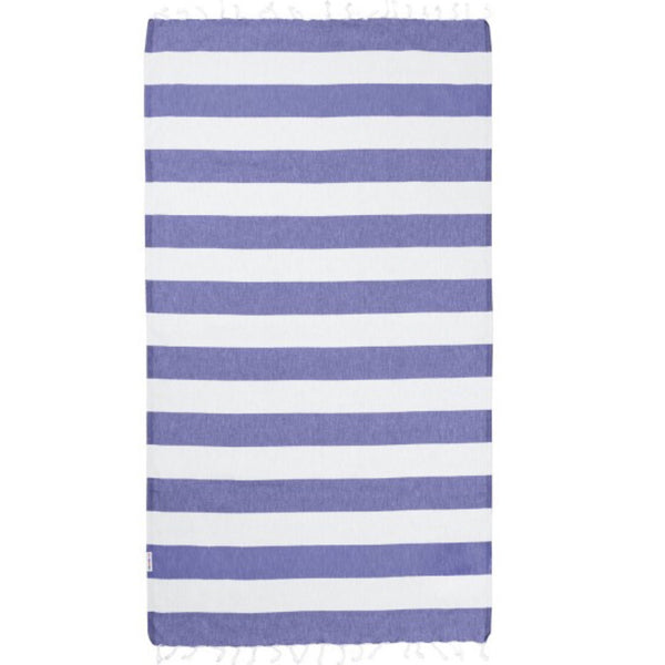 Hammamas | Cotton Beach Towel | Azure/White