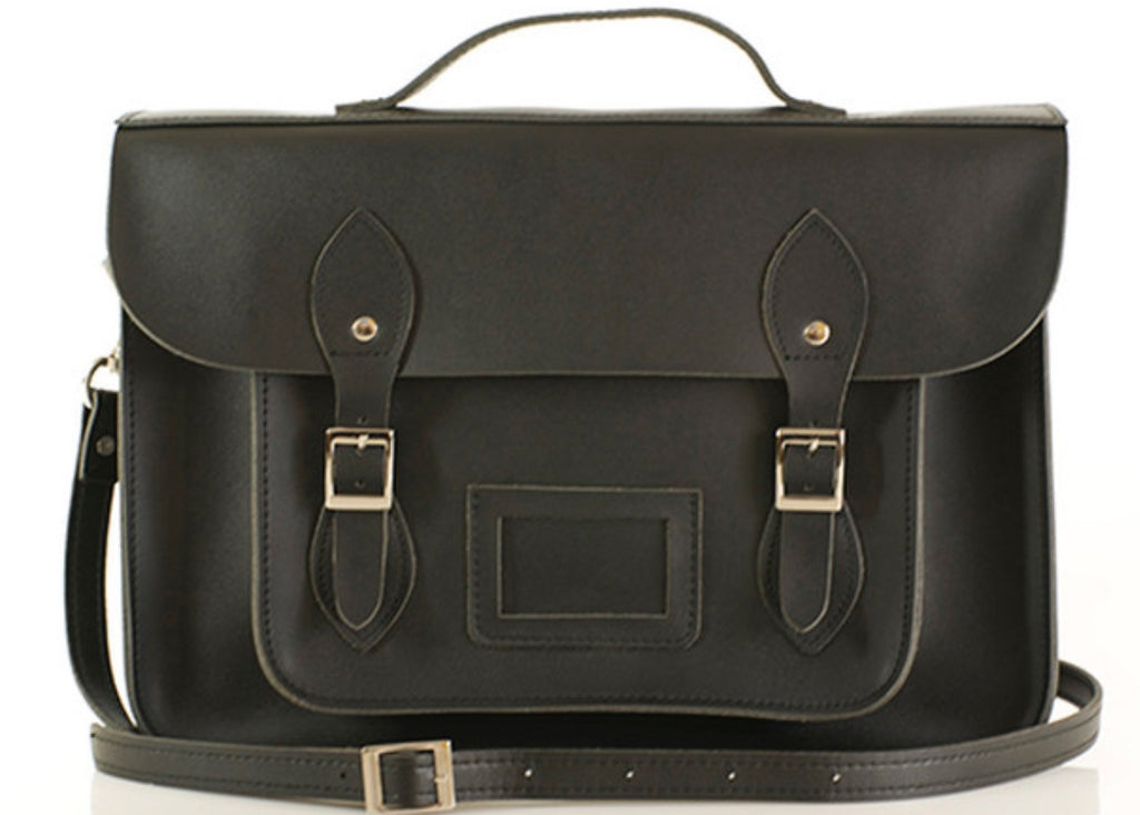 Beauty Black | Leather Satchel | Medium 15""