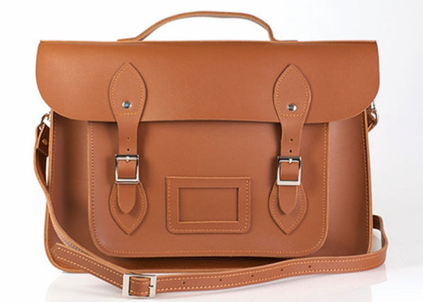Classic Brown | Leather Satchel | Large 17""