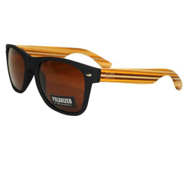Bamboo Sunglasses | Black | Stripped Arms