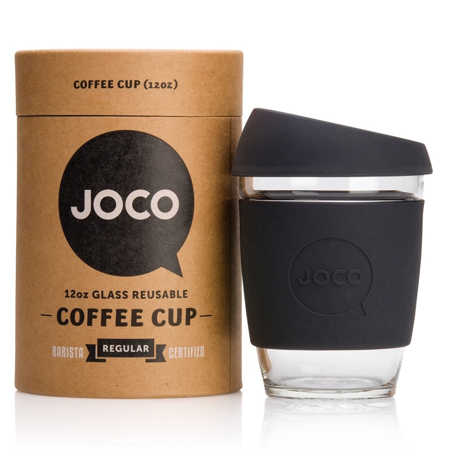 Reusable Glass Cup | Black 12oz (350ml)
