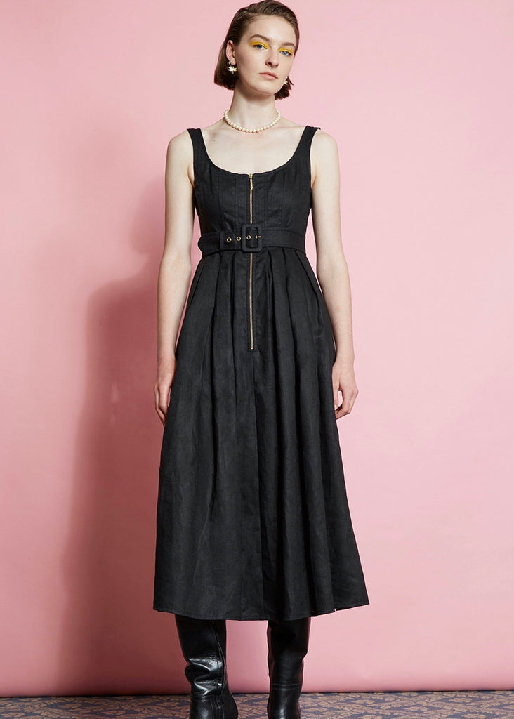 Dress | Poppy (Linen Suiting Black)
