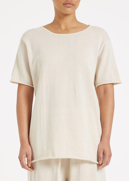 Top | Lounge Knit Tee (Beige)