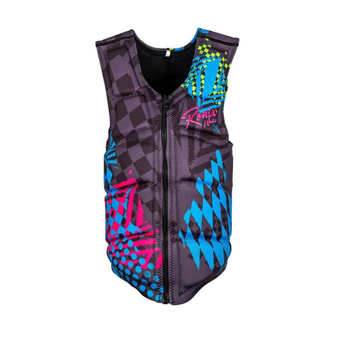 2020 Ronix Party Athletic Cut Impact Jacket (Non-Approved) - Black / Pink / Blue