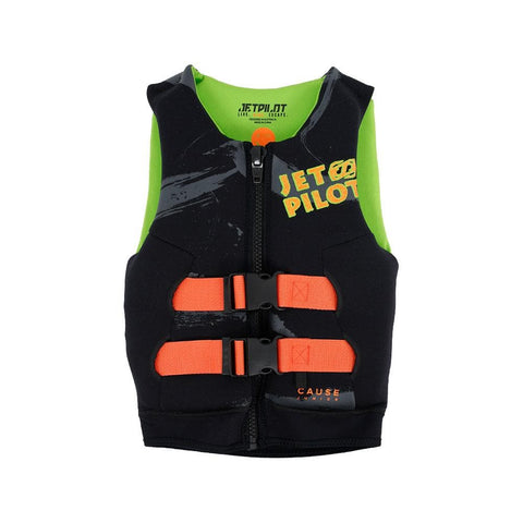 2020 Jetpilot The Cause F/E Kids Neo Vest - Black/Green
