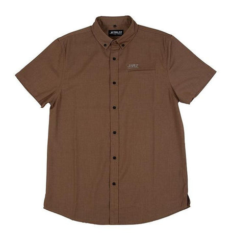 2021 Jetpilot Button Up Mens S/S Shirt - Chocolate
