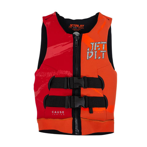 2021 Jetpilot The Cause F/E Youth L50 Neo Vest - Orange L50/Red