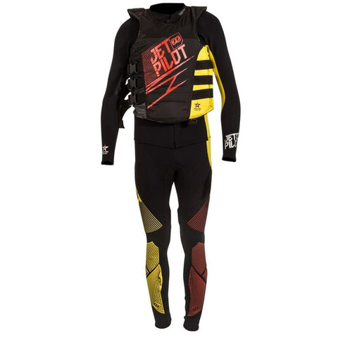 2018 Jetpilot Matrix 3 Race Suit And Vest - Red/Yellow